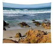 Energizing Seascape At Spanish Bay Tapestry