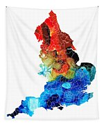 England - Map Of England By Sharon Cummings Tapestry