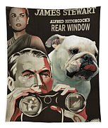 English Bulldog Art Canvas Print - Rear Window Movie Poster Tapestry