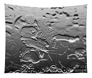 Engraved Snowman Playing The Piano Tapestry