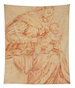 Enthroned Madonna And Child Tapestry