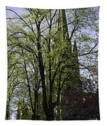 Episcopal Cathedral In Edinburgh Visible Through Trees Tapestry