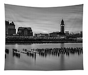 Erie Lackawanna Terminal Sunset Bw Tapestry