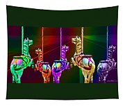 Escape Of The Carousel Horses Tapestry
