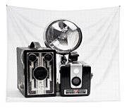 European Travelers Mother And Daughter Cameras Bw Tapestry