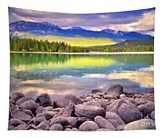 Evening At Lake Annette Tapestry