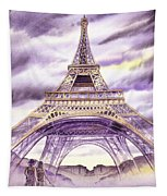 Evening In Paris A Walk To The Eiffel Tower Tapestry