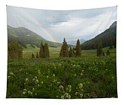 Evening Rainbow In The Rocky Mountains Tapestry