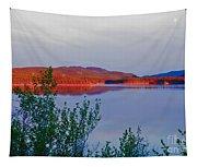 Evening Sun Glow On Calm Twin Lakes Yukon Canada Tapestry