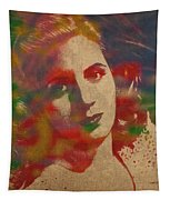 Evita Eva Peron Watercolor Portrait On Worn Distressed Canvas Tapestry by Design Turnpike