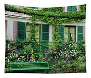 Facade Of Claude Monets House, Giverny Tapestry