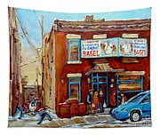 Fairmount Bagel In Winter Montreal City Scene Tapestry