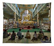 faithful Buddhists praying at sitting Buddha in golden Ponnya Shin Pagoda Tapestry