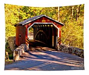 Fall At Kurtzs Mill Covered Bridge Tapestry