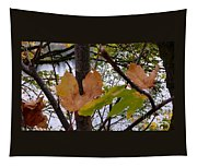 Fall Leaves With River Background Tapestry
