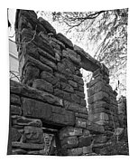 Falling Wall Jerome Black And White Tapestry