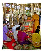 Families Awaiting Teaching From A Monk At Wat Tha Sung Temple In Uthaithani-thailand Tapestry