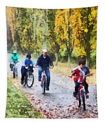 Family Bike Ride Tapestry
