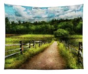 Farm - Fence - Every Journey Starts With A Path  Tapestry