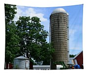 Farm - John Deere Tractor And Silos Tapestry