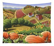 Farm Landscape - Autumn Rural Country Pumpkins Folk Art - Appalachian Americana - Fall Pumpkin Patch Tapestry