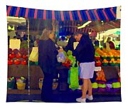 Farmers Market Bushels And Baskets Of Apples Fruit And Vegetables Food Art Scenes Carole Spandau Tapestry