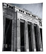 Farrington Field Facade Bw Tapestry