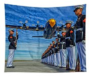 Fat Albert Over The Usmc Silent Drill Team Tapestry
