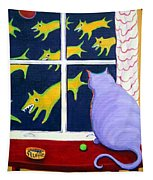 Fat Inside Cat - Why Fluffie Can Not Possibly Go Out Tapestry