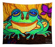 Fat Green Frog On A Sunflower Tapestry