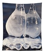 Fat Twin Icicles Over Water Surface Tapestry