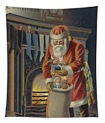 Father Christmas Filling Children's Stockings Tapestry