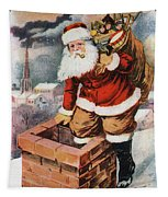 Father Christmas Popping Down The Chimney To Deliver Gifts To The Good.  Tapestry