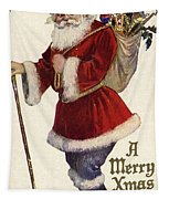 Father Christmas With A Bag Of Toys Tapestry