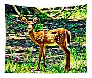 Fawn In The Woods Tapestry