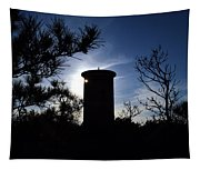 Fct1 Fire Control Tower 1 In Silhouette Tapestry