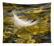 Feather On Golden Water Tapestry