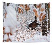 Feeding Site In The Forest In Winter  Tapestry