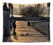 Feeding The Birds At Dawn Tapestry