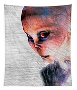 Female Alien Portrait Tapestry
