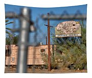 Fenced In  Abandoned 1950's Motel Trailer Tapestry