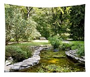 Fernwood Botanical Garden Frog Pond With Bench Niles Michigan Us Tapestry