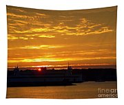 Ferry At Sunset Tapestry