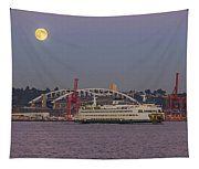 Ferry Under A Full Moon Tapestry