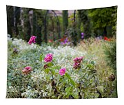Field Of Flowers On A Rainy Day Tapestry