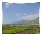 Fields Mountains Sky And A River Swat Valley Pakistan Tapestry