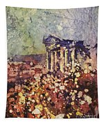 Fields Of Flower- And Roman Temple Tapestry
