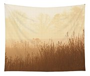 Fields Of Tall Grass In The Mist Tapestry