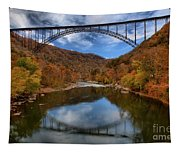 Fiery Colors At New River Gorge Bridge Tapestry