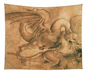 Fight Between A Dragon And A Lion Tapestry